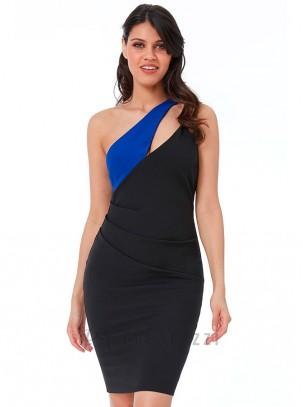 Vestido bicolor con doble tirante y drapeado en cintura