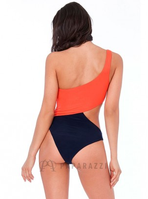 Bañador estilo body bicolor de doble lycra con un tirante y abertura lateral