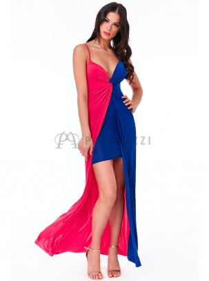 25e244551b Vestido bicolor de tirante fino con detalle de nudo en escote y abertura en  la parte ...