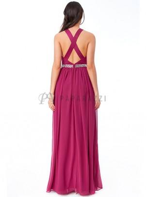 Vestido de gasa con espalda descubierta y tirantes en X