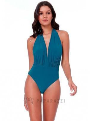Bañador estilo body con escote pronunciado, espalda descubierta y tirantes adaptables a varias posiciones