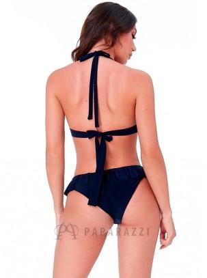 Bikini con detalle metálico en parte superior y volante en parte inferior
