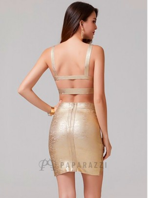 Conjunto bandage de top corto con tirantes en espalda descubierta y falda con bajo asimético