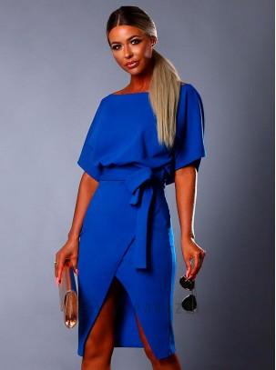 elegante en estilo 100% de satisfacción tienda de liquidación Vestido midi con raja lateral en pierna y...