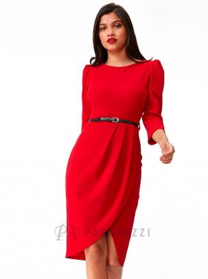 Vestido midi con abertura lateral y cinturón en contraste incluido