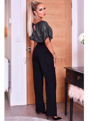 Mono palazzo de manga corta con parte superior de lurex en contraste y cinturón incuido en la misma tela