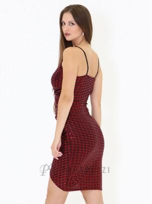Vestido de lurex con tirantes finos regulables, escote cruzado, drapeado en cintura y abertura asimétrica