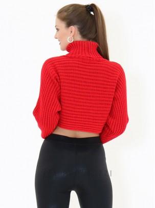 Jersey corto de punto con cuello alto y manga larga
