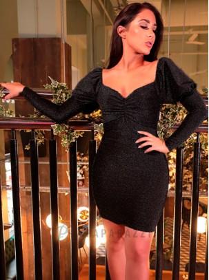 Vestido de lurex con escote fruncido y manga larga abullonada
