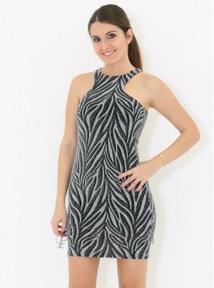 Vestido de lurex con diseño de relieve en contraste