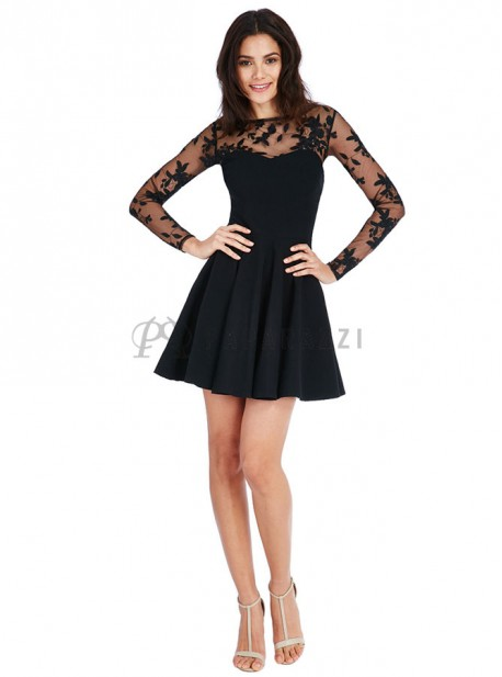 black party dress vestido de vuelo con mangas largas transparentes y 12071
