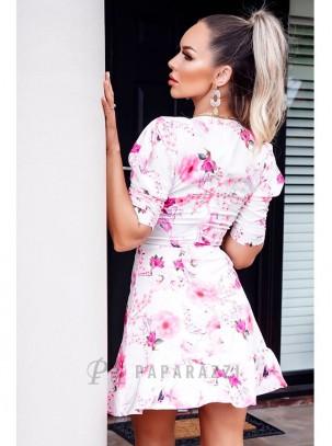 Vestido evasé de estampado floral con escote en V, media manga y cierre de cremallera invisible en parte trasera