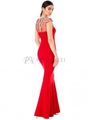 Vestido corte sirena con detalle de pedrería
